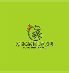 chameleon tour travel logo vector image