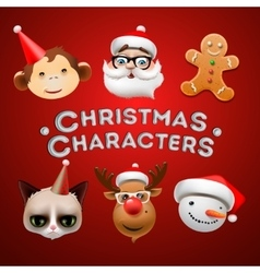 Christmas cute characters vector image