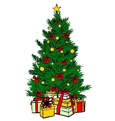Christmas tree sketch vector image