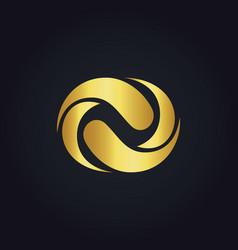 Circle abstract gold logo vector