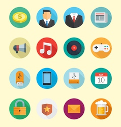 Circle Flats Icons vector image