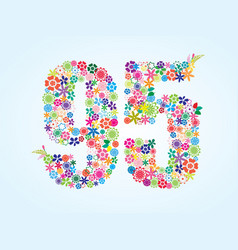 Colorful floral 95 number design isolated on vector