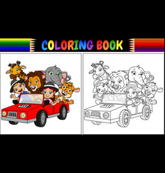 coloring book with funny kids and animal cartoon o vector image