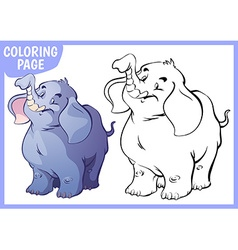 Coloring page Happy blue elephant raised his trunk vector
