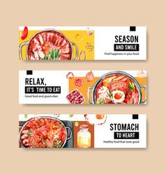 Cooking banner template design for brochureweb vector