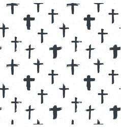 Cross symbols seamless pattern grunge hand drawn vector