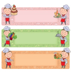 Cute chefs horizontal banners vector