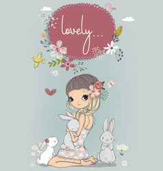 Cute girl with white hares vector