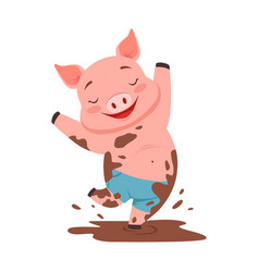 Cute happy pig jumping in a dirty pool funny vector