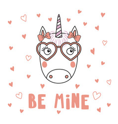 Cute unicorn in heart shaped glasses vector