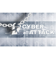 cyber attack theme with brocken lock vector image