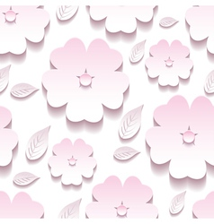 Decorative floral seamless pattern 3d sakura vector