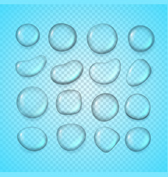 different water drops clipart on transparent vector image