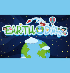 Earthday poster design with kids and earth vector