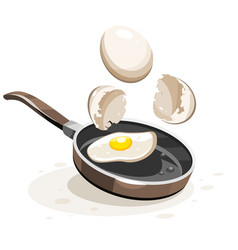 Eggs frying on the hot pan vector