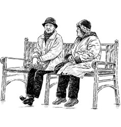 Elderly women on park bench vector