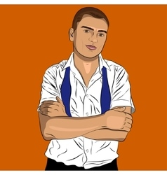 Elegant young man weared in a white shirt and tie vector