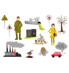 Environmental pollution problems set pollution of vector