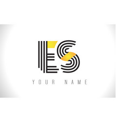 es black lines letter logo creative line letters vector image