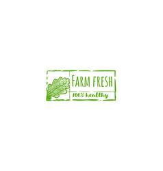 farm fresh 100 healthy label vector image
