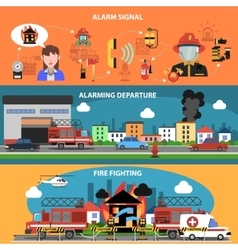 Fire Fighting Horizontal Banner vector