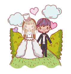 girl and boy couple marriage with bushes and vector image