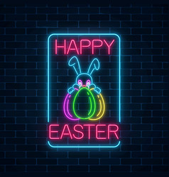 Glowing neon sign of easter bunny with eggs vector