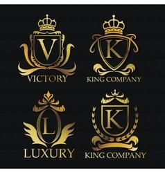 Gold emblem icon set design vector