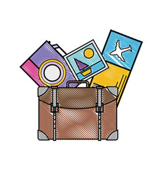 grated backpack with camera and picture to journey vector image