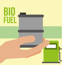 hand holding barrel pump station biofuel vector image