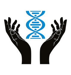 Hands holding dna strand symbol vector