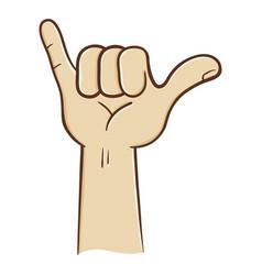 Hang loose hand sign vector