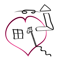 house in heart icons vector image