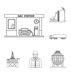 Isolated object of oil and gas sign collection of vector