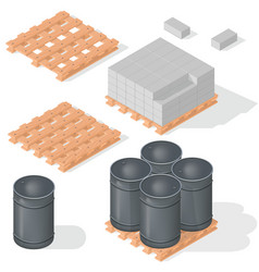 isometric barrels concrete block vector image