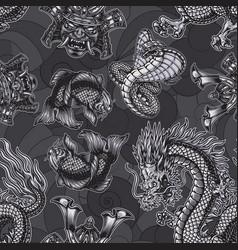 japanese monochrome seamless pattern vector image