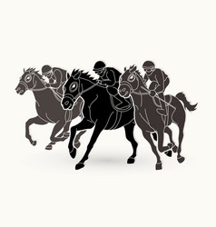 Jockey riding horse hose racing graphic vector