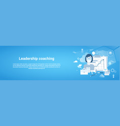 leadership coaching web horizontal banner with vector image