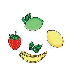 Lemon lime strawberry and banana flat icon set vector