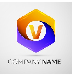 Letter V logo symbol in the colorful hexagonal on vector
