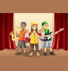 Little kids in music band vector