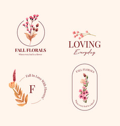 Logo design with autumn flower concept for brand vector