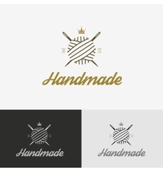 Logo sewing shop with needle vector