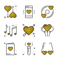 Love icons in gold heart shape vector