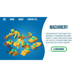 Machinery concept banner isometric style vector