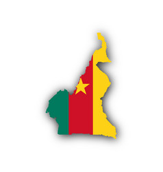 map and flag of cameroon vector image