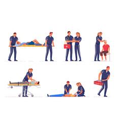 Medical emergency paramedic team first aid set vector