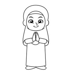 Moslem girl hajj greeting bw vector