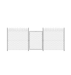 part prison wire fence with gate 3d realistic vector image