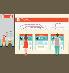 people buying a ticket for the train vector image